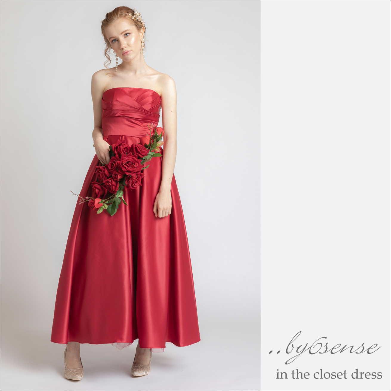 ロングサテンドレスドレス 結婚式 パーティー ロング丈 花嫁 イブニングドレス ピンクORレッド