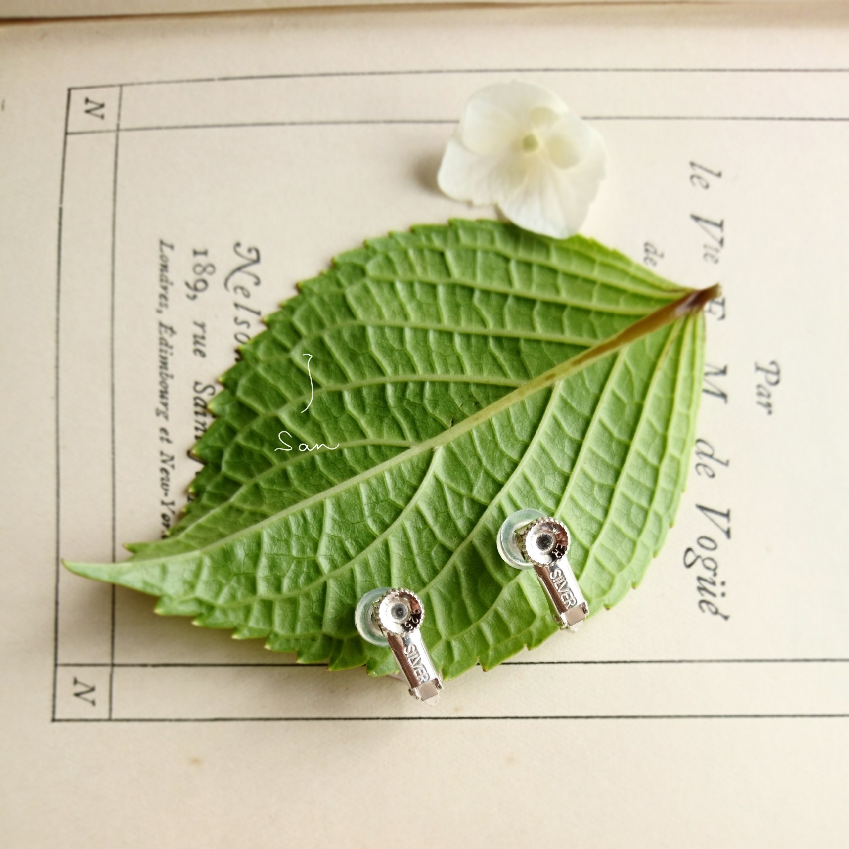 送料無料 白いあじさい イヤリング カイヤナイト シルバー925 紫陽花