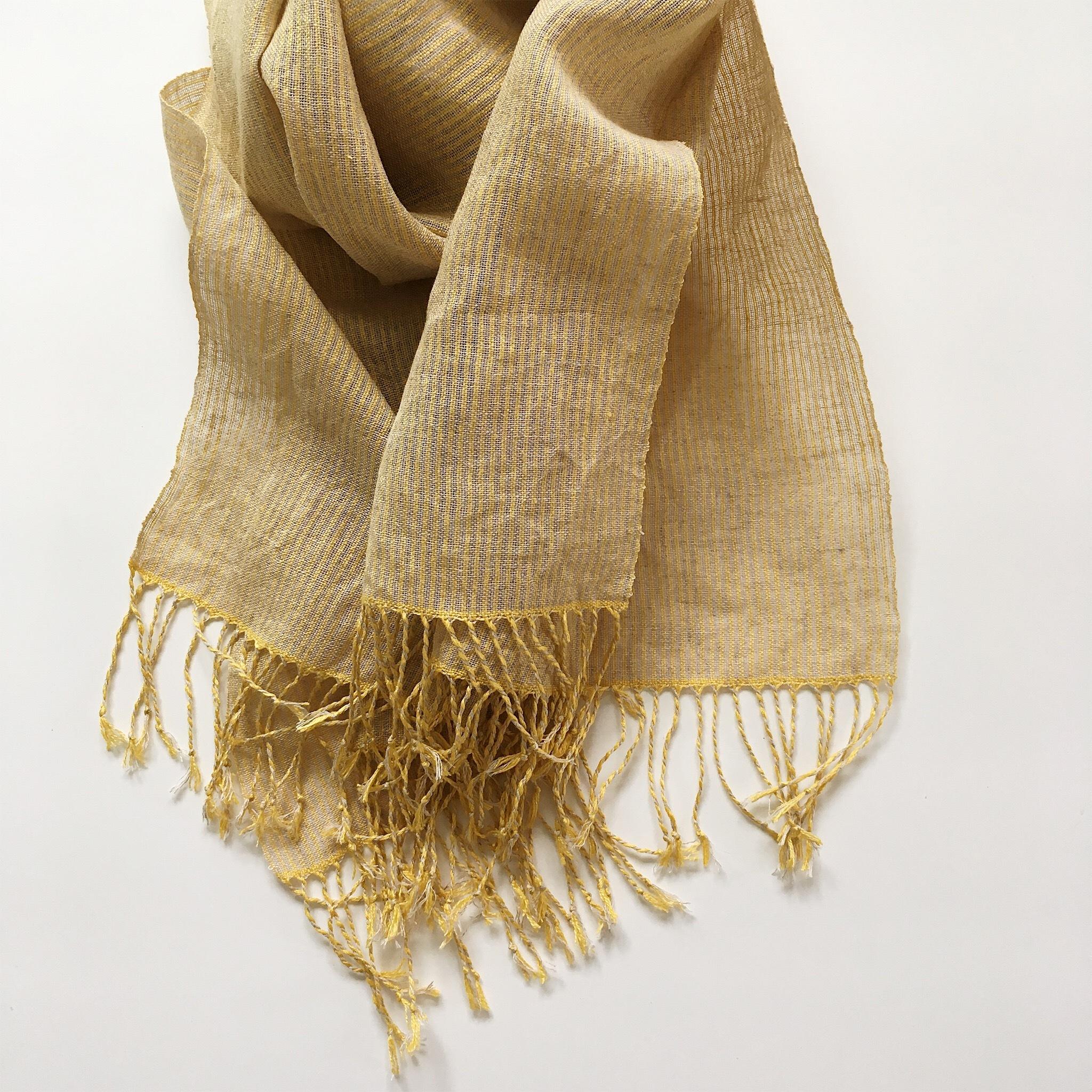 手織りシルクリネンショール(Shawl pinstripe Yellow)