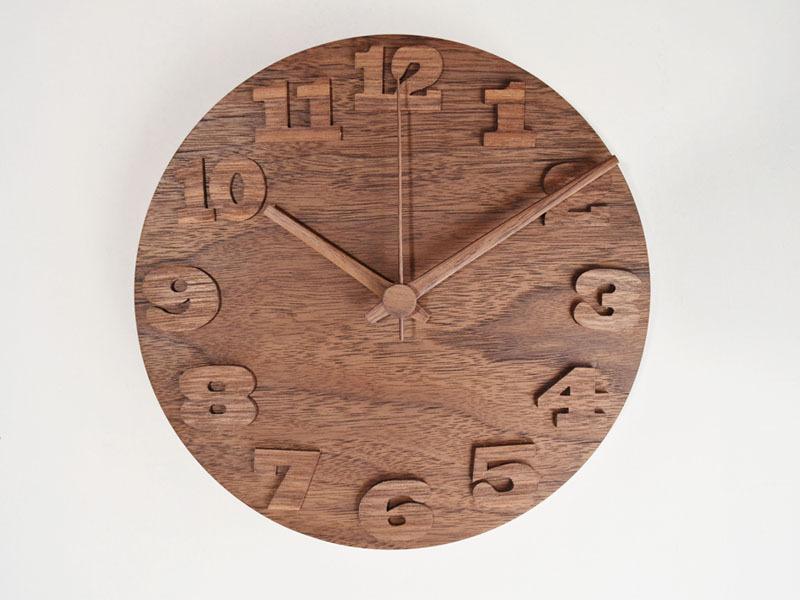 木の掛け時計/ウォルナット/18cm/受注生産品/WC-18WWAL