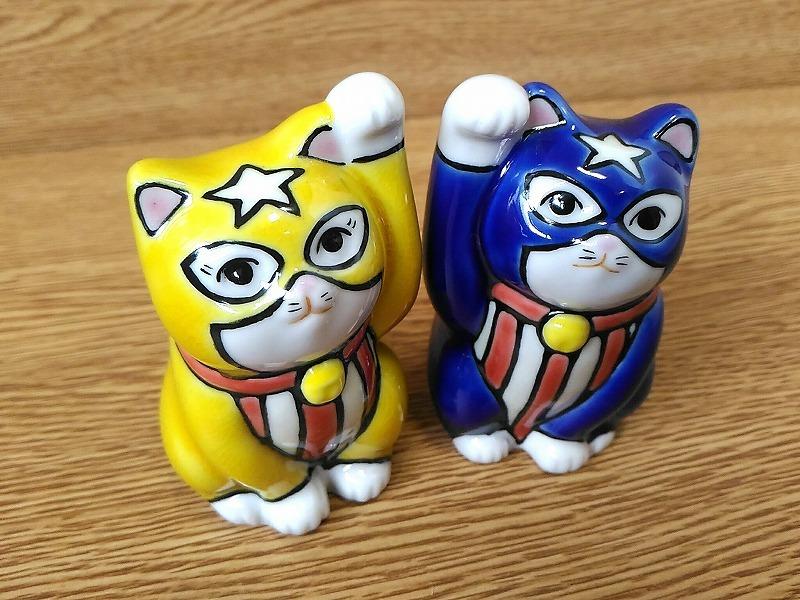 ペア招き猫2.8寸 アメコミヒーロー