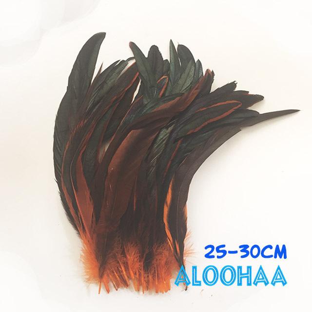 ロングフェザー 【オレンジ】25~30cm タヒチアン 衣装 材料 ルースターテール 染め 羽根