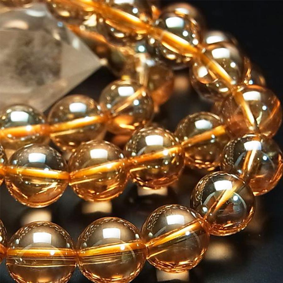 【美しさと魅力を引き出す】天然石 ゴールデンオーラ水晶 ブレスレット(8mm)