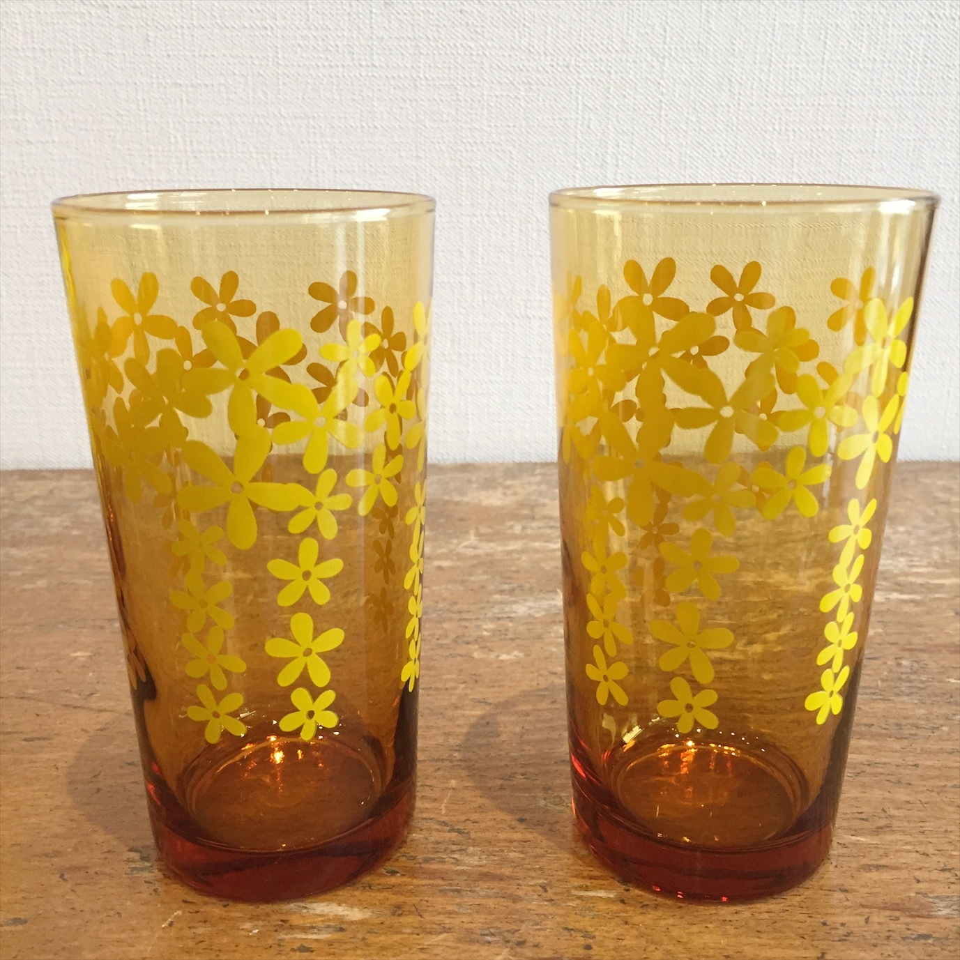 アンバー花柄グラス