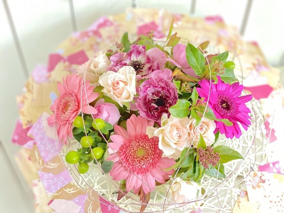 2月フラワーアレンジメントレッスン《ひな祭り花束》