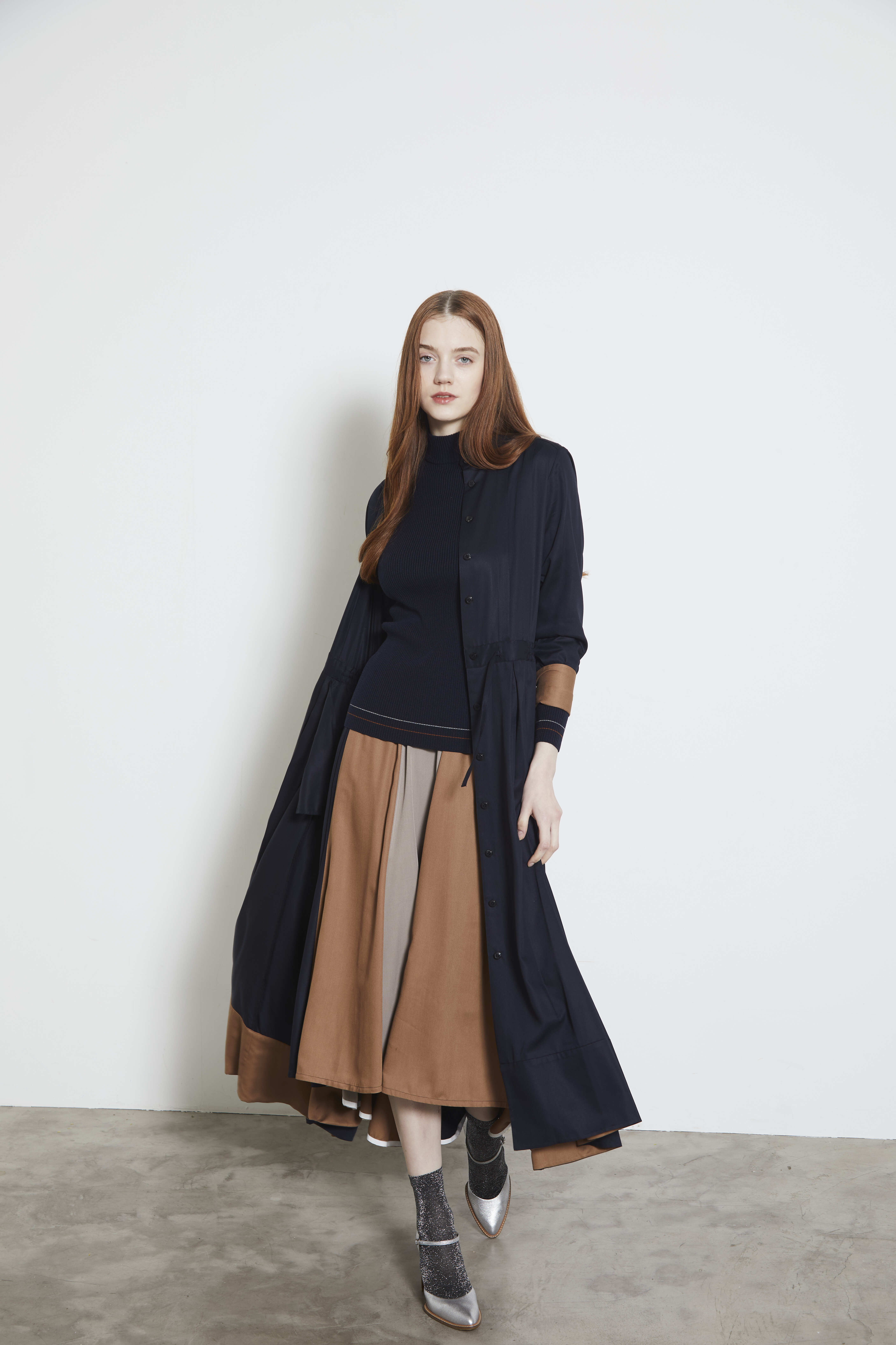 【2021AW先行受注アイテム】TWILL 2TONE SHIRT DRESS