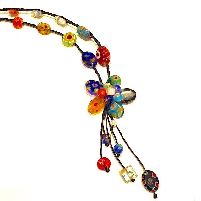 acc-017 ベネチアングラスの花ネックレス