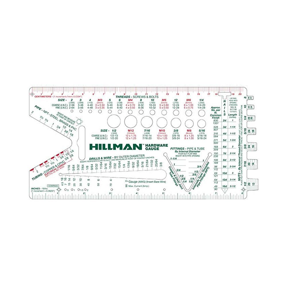 [Hillman]ハードウェアゲージ●アメリカ製●ネジピッチ分度器定規測量ゲージ