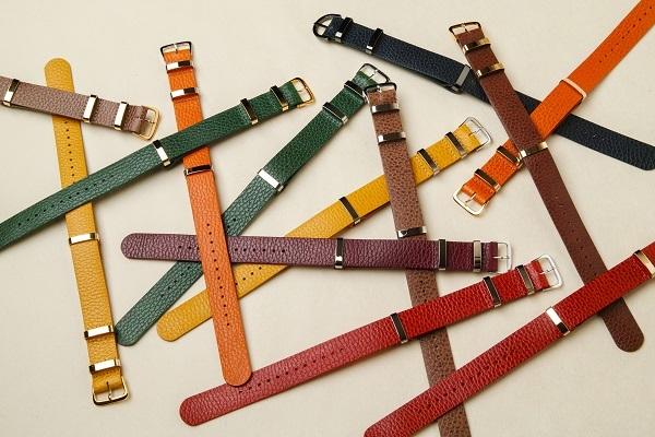 NATO STRAP革の時計ベルト □オレンジ・ゴールド□ _イタリアンレザー ナトータイプ 腕時計付替えベルト_ - 画像5