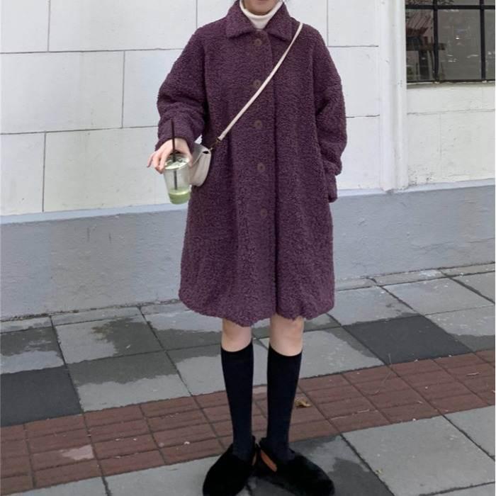 【送料無料】もこもこ ガーリー ♡ ボア レトロ カジュアル Aライン ミディ丈 チェスター ステンカラー コート アウター