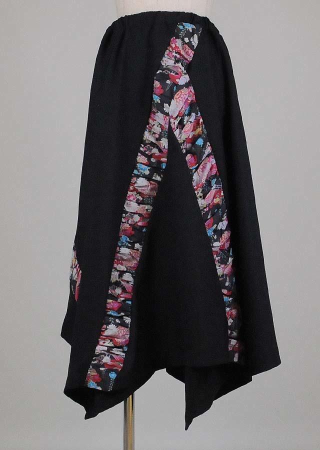 gouk ギャザー和柄切り替え変形ヘムスカート 黒 GGD26-S334 BK/M