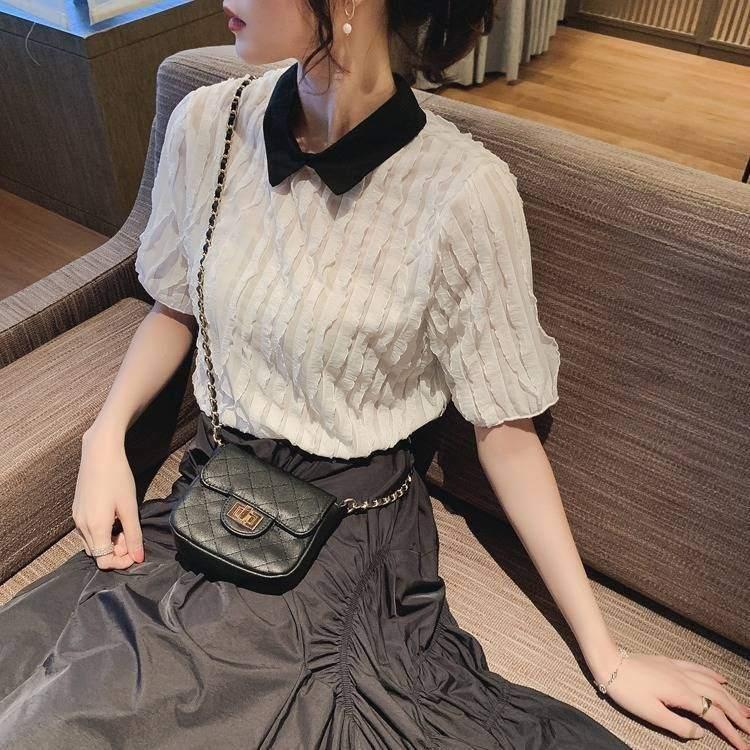 【送料無料】 大人女子におすすめ♡ 襟付き シフォンシャツ 半袖 プリーツ トップス