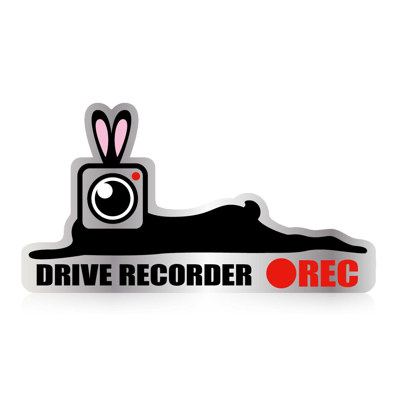 カメラうさぎ ●REC ドライブレコーダーステッカー【小】