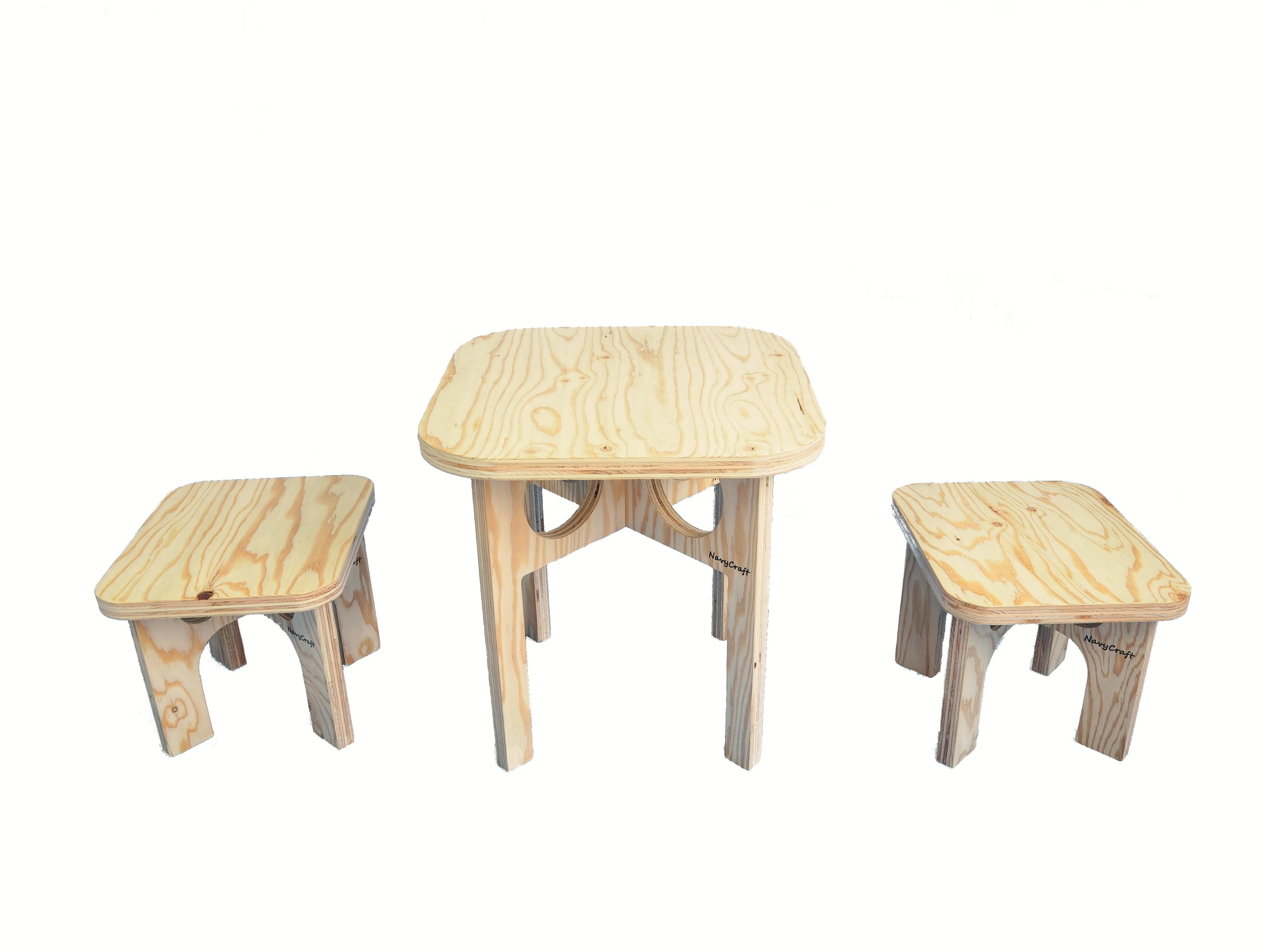 折りたたみ木製テーブル&チェア -無塗装-