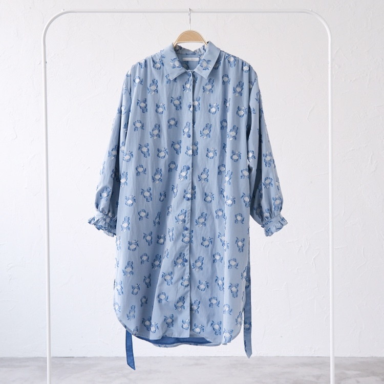 18AW blue flower shirt one piece〈Sky blue〉