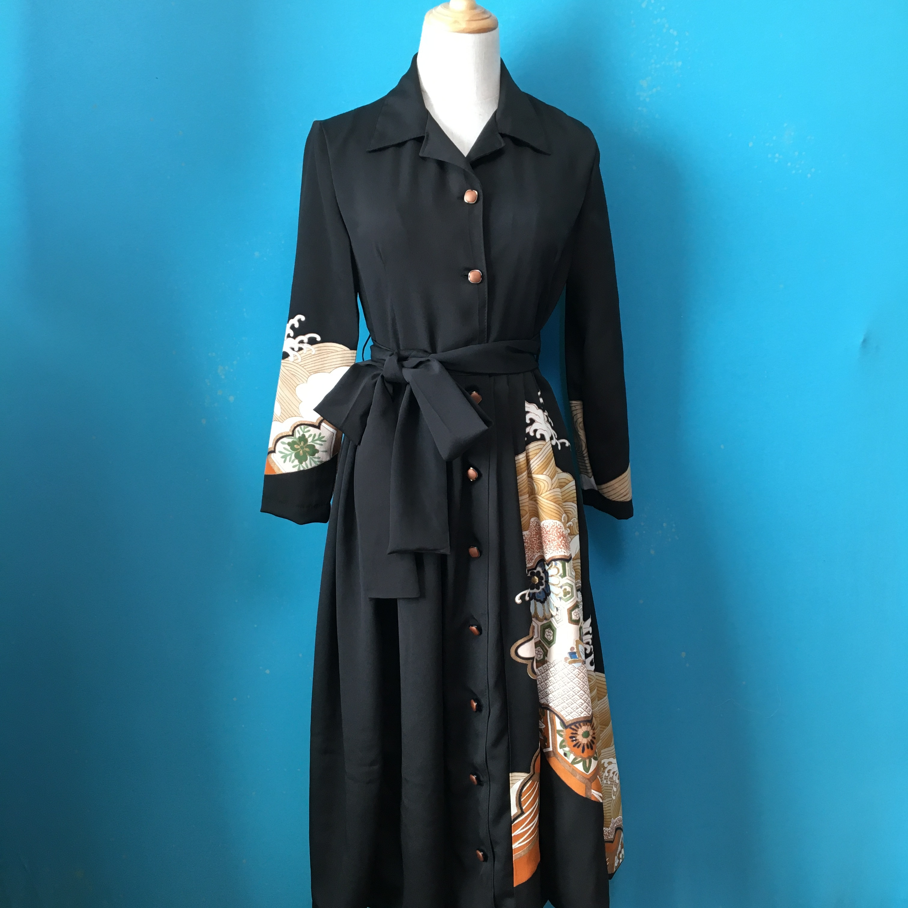 Vintage black kimono shirt dress/ US 6
