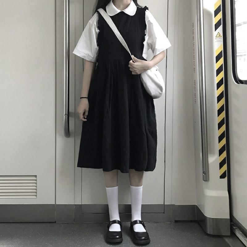 【送料無料】フリルデザインが可愛い ♡ 2点セット 襟付き カットソー × ジャンパースカート Aライン ワンピース