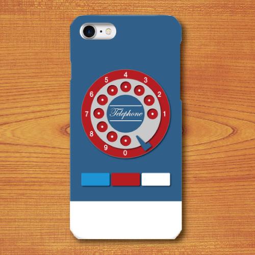 昭和レトロ/おもちゃ電話調/レトロ玩具調/青色(ブルー)/iPhoneスマホケース(ハードケース)