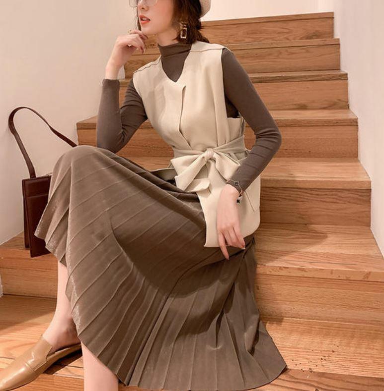 【送料無料】 ブラウンコーデ3点セット♡ カットソー & ベスト & プリーツ ロング スカート セットアップ ワントーンコーデ