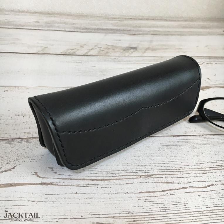 眼鏡ケース/手縫い オイルレザー 牛革(黒)