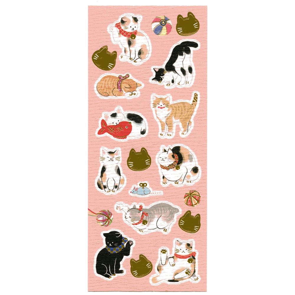 猫シール(和紙にゃんこ)