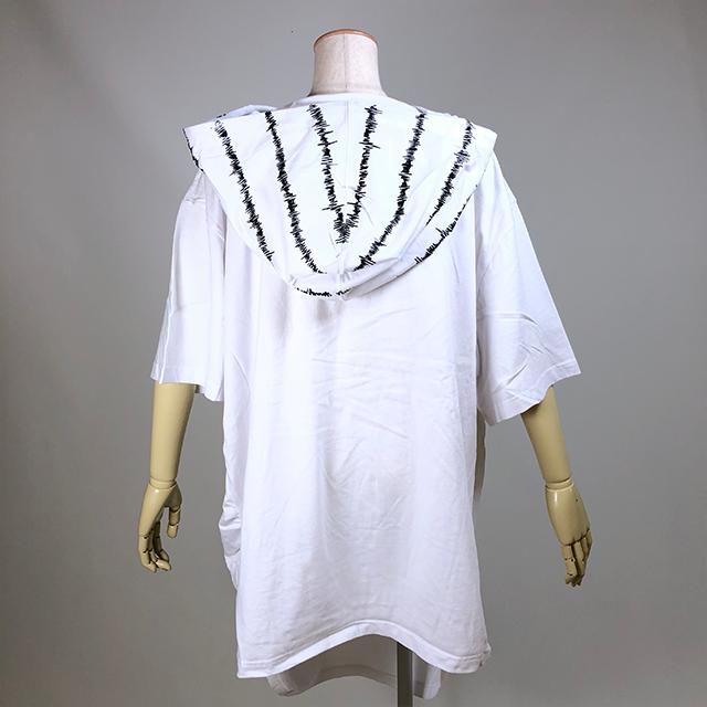 心電図プリントフードTシャツ/KUD23-T534