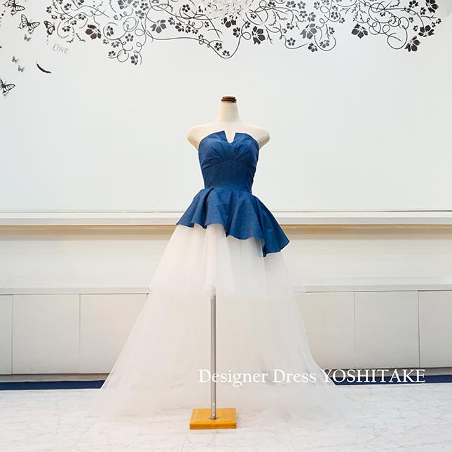 【オーダー制作】ウエディングドレス(パニエ無料) デニムドレス ブライダル二次会ドレス ※制作期間3週間から6週間