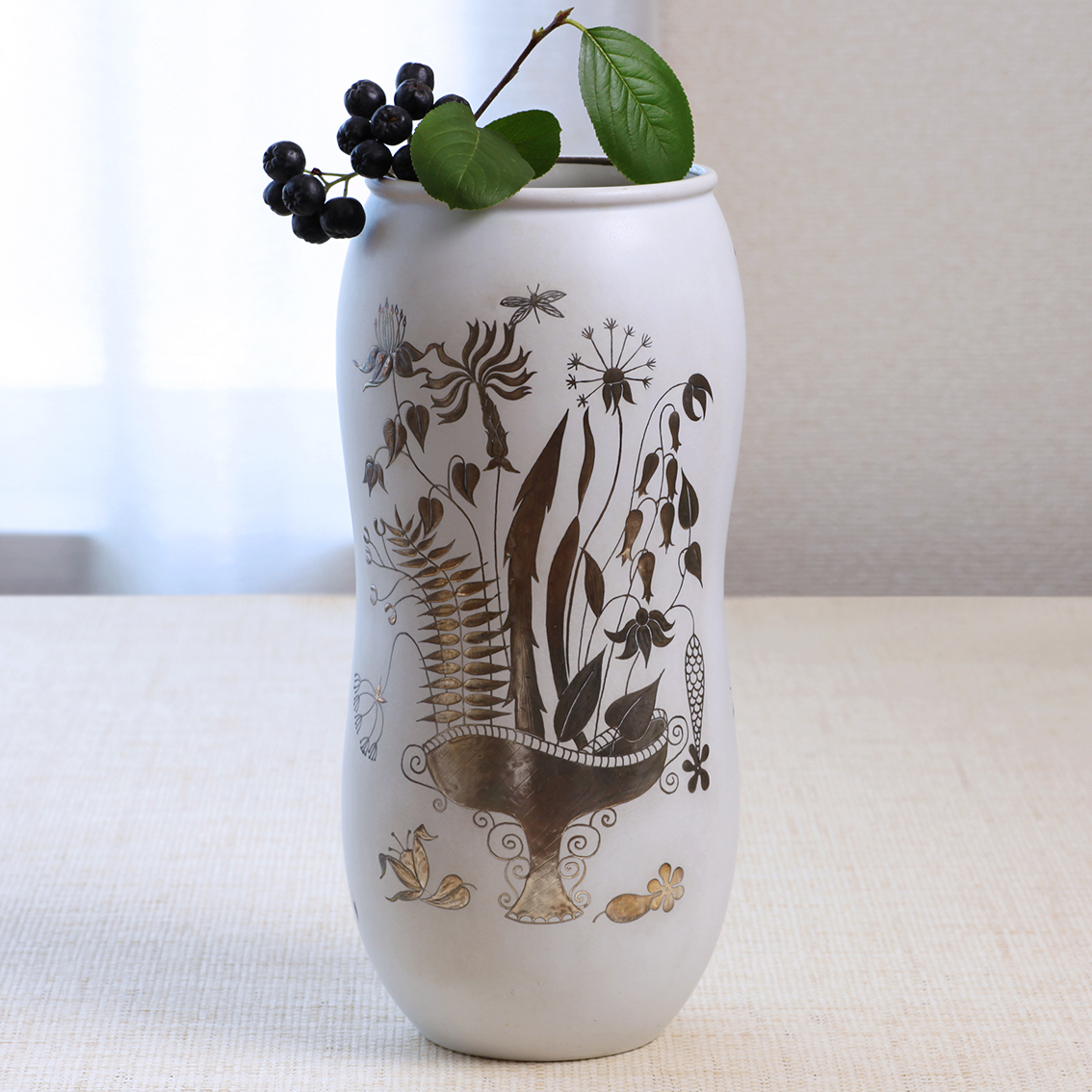 Gustavsberg  Fajans ファイアンス グスタフスベリ Grazia グロッツィア 花瓶 フラワーベース 北欧ヴィンテージ