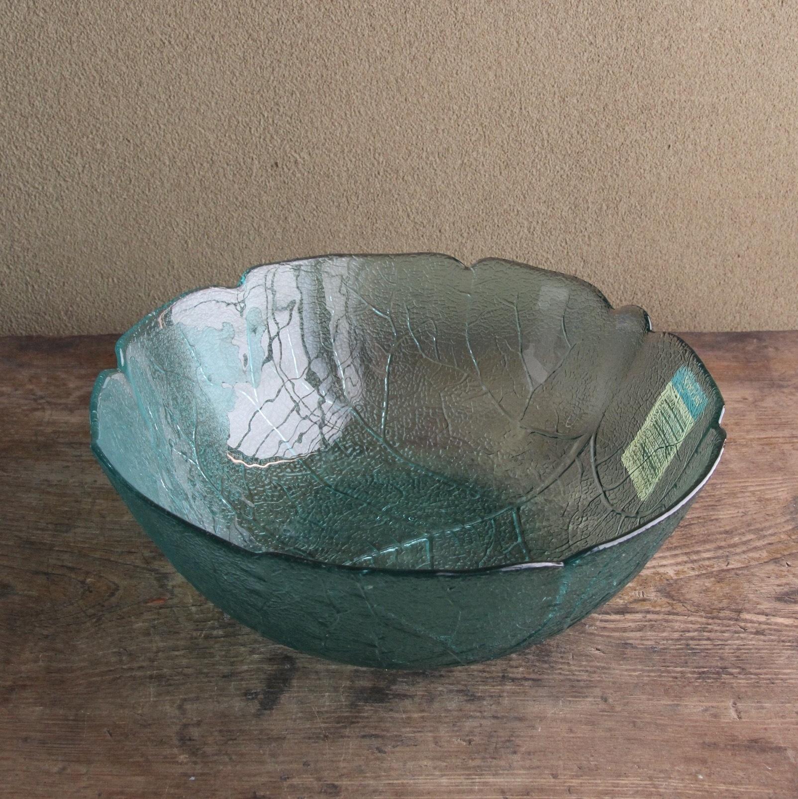 アルコロック リーフ柄のガラス大鉢