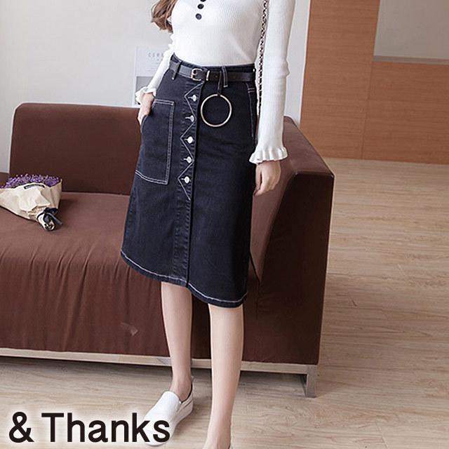 春コーデ  ブラックデニムスカート 1カラー6サイズ