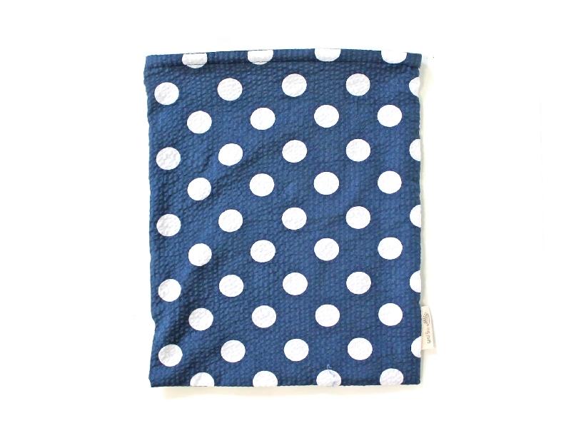ハリネズミ用寝袋 L(夏用) 綿リップル×スムースニット 水玉 ネイビー
