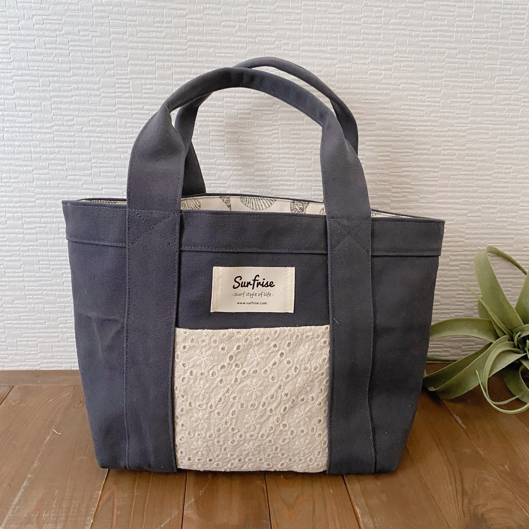 Tote bag S - Charcoal gray / Flower lace