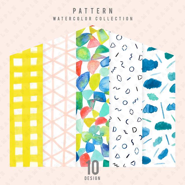 【水彩】パターン 10点セット
