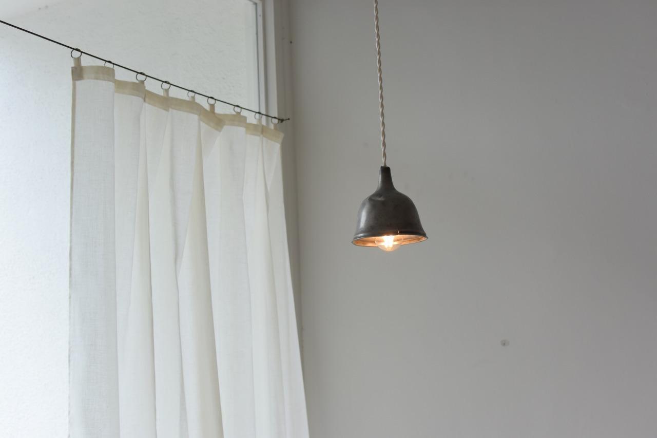 古びた真鍮リングのシングルガーゼカーテン