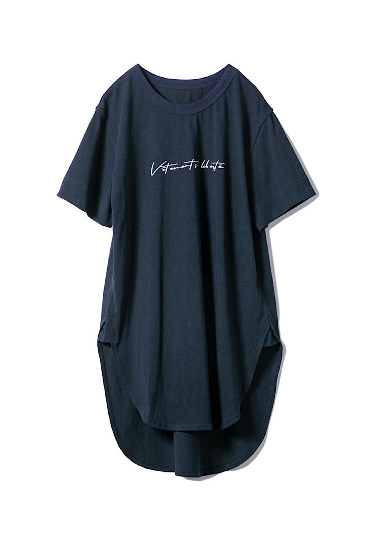 ロングボディTシャツ<ネイビー>