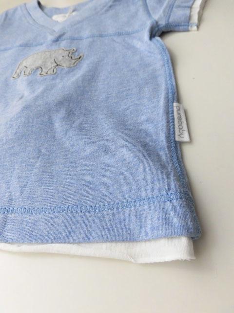 オーガニックコットン ブルー半袖レイヤードTシャツ ベビー服 【purebaby】