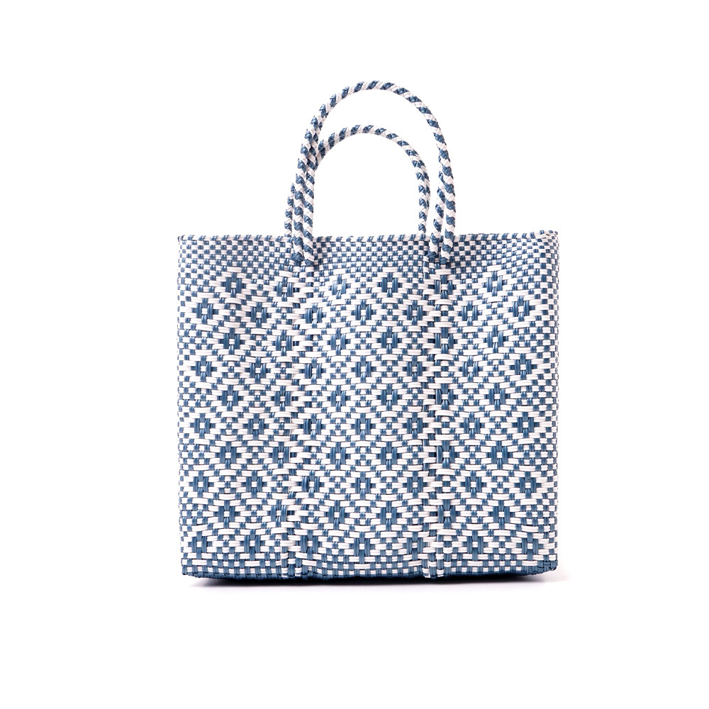 MERCADO BAG ROMBO METALIC - Metalic Blue x White(S)
