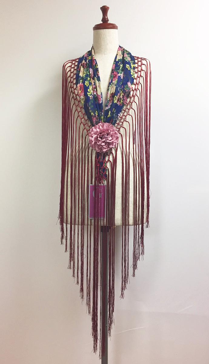 GP-MC_GS_01 マントンシージョ 青地に花柄ジョーゼット生地・ボルドーフレコ Guadalupe社製
