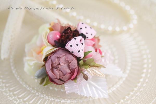水玉リボンとお花のヘアクリップ