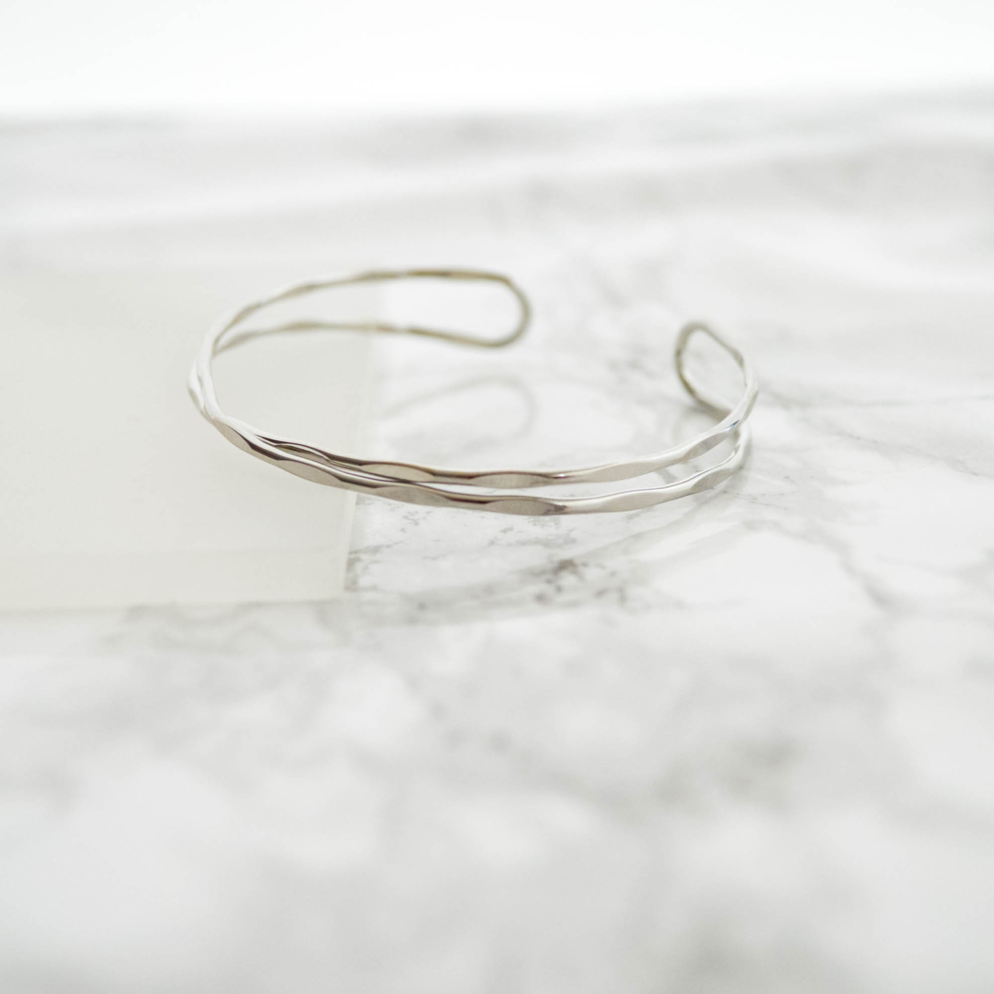 Tsuchime Cross Line Bangle(silver)