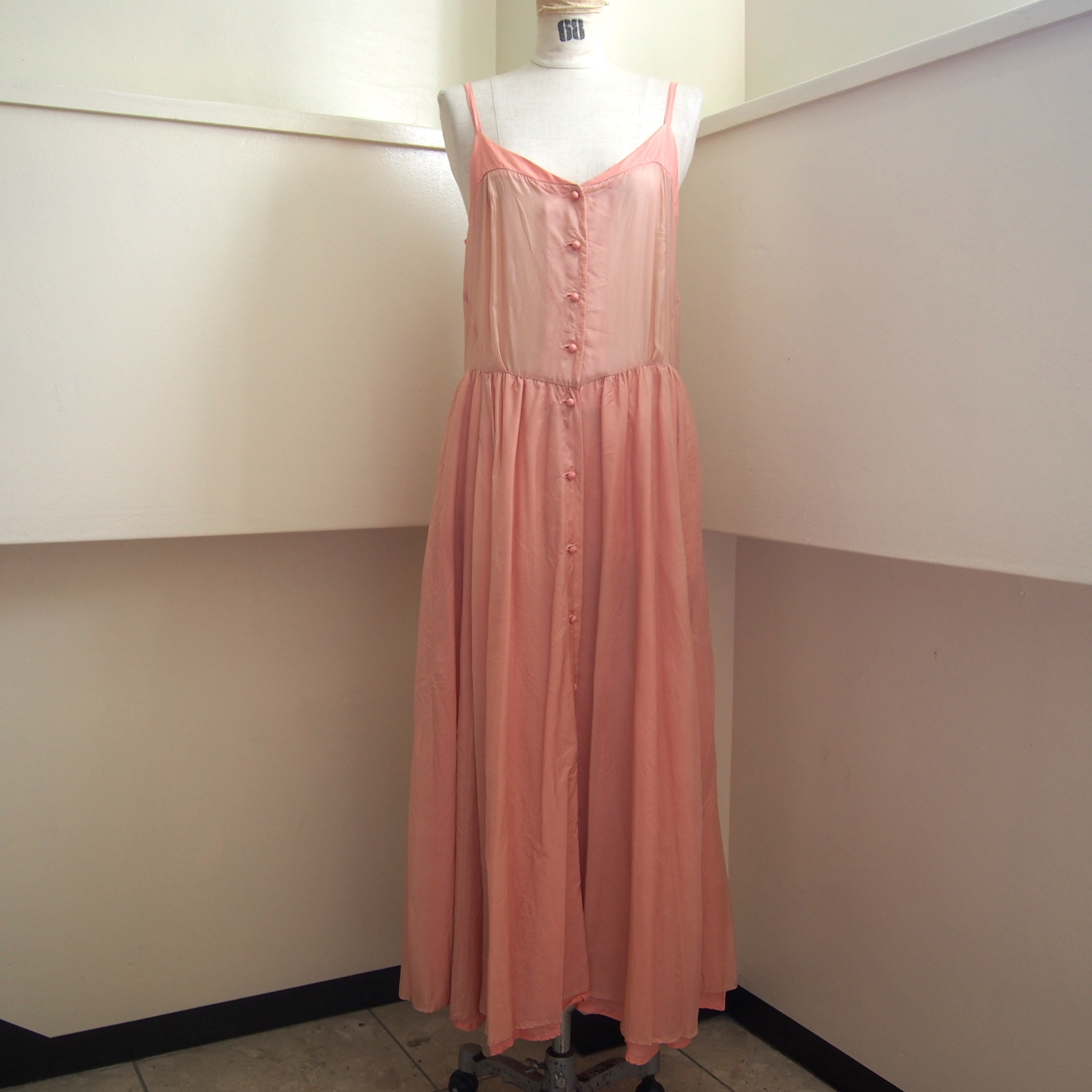 【hippiness】cupro corset dress(light.pink×pink)/ 【ヒッピネス】キュプラ コルセット ドレス(ライトピンク×ピンク)