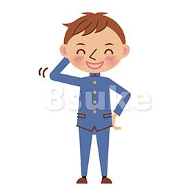 イラスト素材:照れ笑いする学生服姿の男子中学生・高校生(ベクター・JPG)