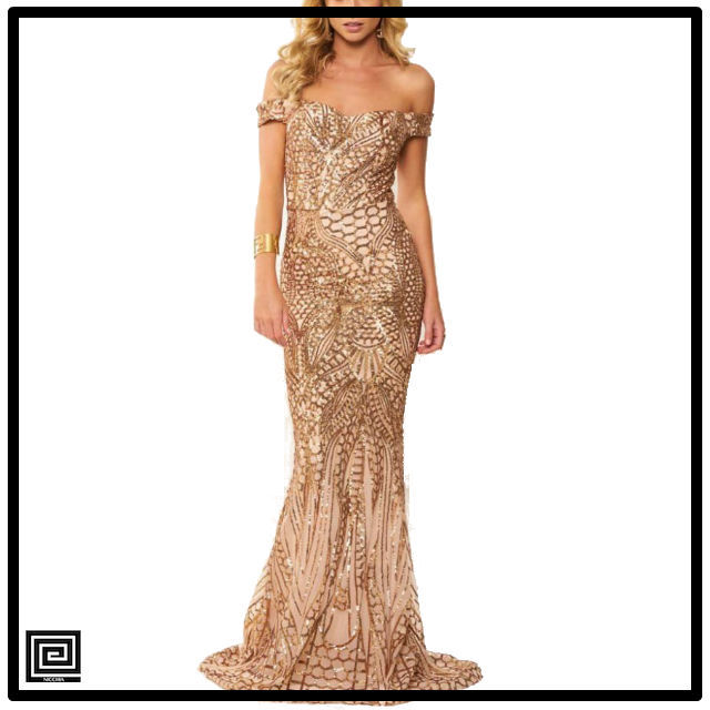 ゴールドオフショルダースパンコールロングドレス