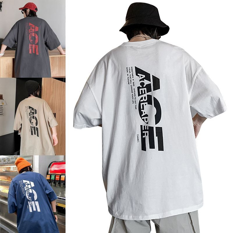 ユニセックス 半袖 Tシャツ メンズ レディース ワンポイント ACE 英字 バックプリント オーバーサイズ 大きいサイズ ルーズ ストリート