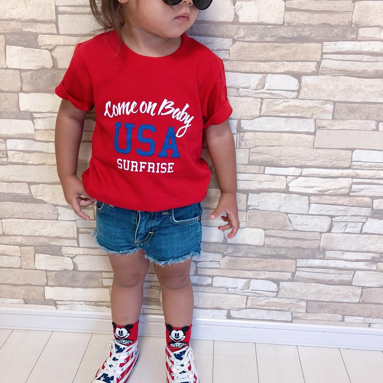 ★Kids★ Come on baby USA Tee - Red