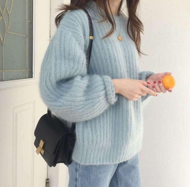 【送料無料】 ふんわりニット♡ 大人可愛い プルオーバー ボリューム袖 ラウンドネック ニット トップス