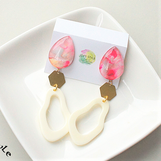 """ Earrings NO.1-1633″ ピンクペイント"