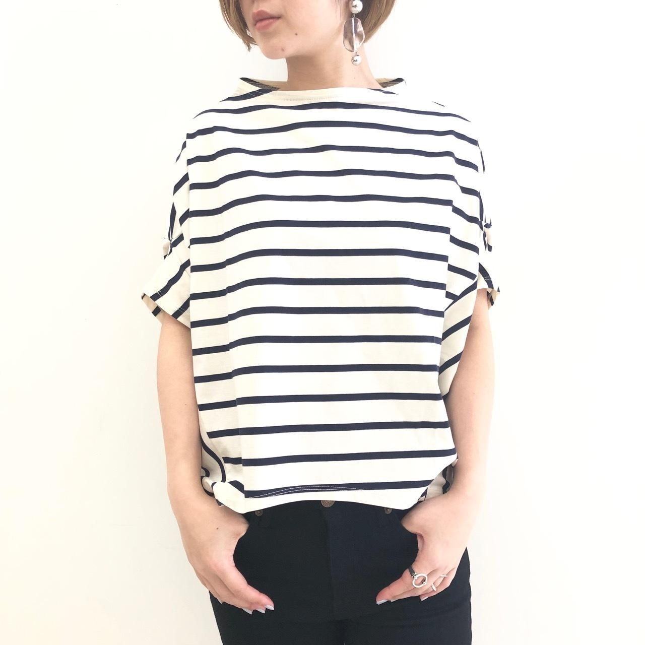 【 OTUME 】ボトルネックボーダーTeeシャツ