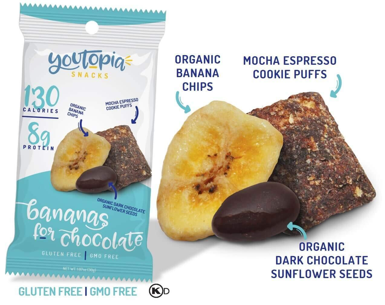 Youtopia Snacks ヘルシースナック Bananas for Chocolate 10袋セット