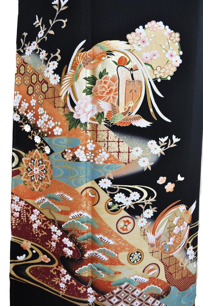 黒留袖レンタル■正絹流れの有る大胆な構図に松、梅、亀甲そして花車に鶴の柄■L寸kurot1[往復送料無料] - 画像3